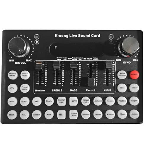 Yissone Live-Soundkarte Externer Mixer F9 Universal Broadcast Voice Changer mit 18 Soundeffekten für Telefon Laptop Computer Schwarz (Englische Version)