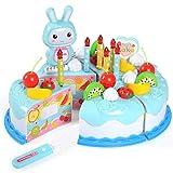 37PCS Birthday Cake Toy Fruit Cutting Birthday Cake Kitchen Food Toys DIY Birthday Cake Pretend Play...