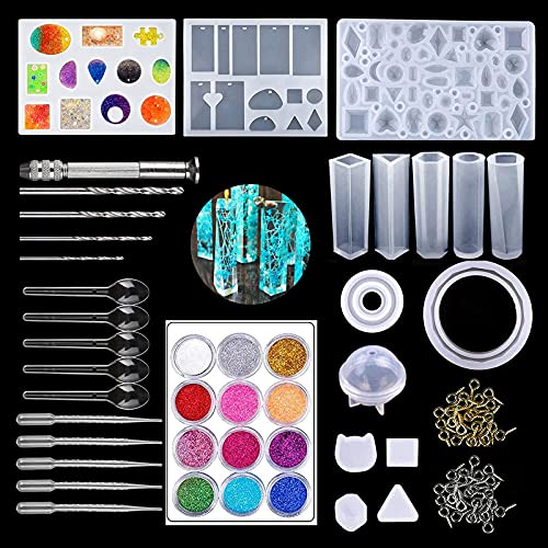 opamoo Moldes Resina, 94 Pcs Resina Moldes Kit de Molde de Fundición de Resina Moldes Resina Epoxi de Joyas Silicona para Collar Pendiente Fabricación de Colgante Creativo Bricolaje DIY Joyas