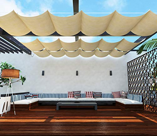 TANG Upgraded Slide on Wire Canopy Retractable Awning Replacement Cover for Pergola Terrace Deck Patio Porch Restaurant Cafe' Beige 4'X12'