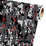 Sky Auto INC Digital Grey RED Camouflage Vinyl Car Wrap Film Sheet + Free Cutter & Squeegee (2ft x 5ft / 24' x 60')