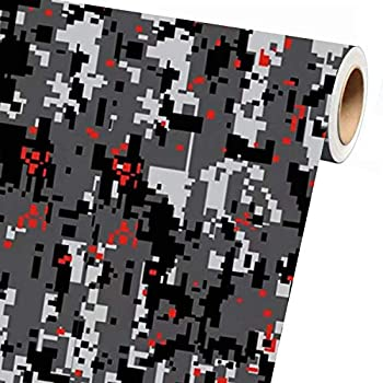 Sky Auto INC Digital Grey RED Camouflage Vinyl Car Wrap Film Sheet + Free Cutter & Squeegee  3ft x 5ft / 36  x 60
