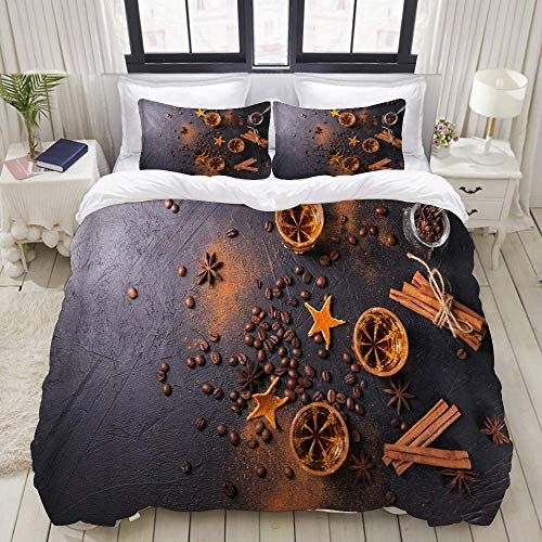 Nonun Duvet Cover,Whiskey Brandy Or Liquor Coffee Beans Spices and Decorations On Dark Background,Bedding Set Ultra Comfy Lightweight Microfiber Sets (3pcs)