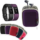 Navitech Purple Hard Carry/Storage Case Compatible with TheFitbit Charge 2 with Pouch Compatible with The Fitbit Flyer Wireless Headphones