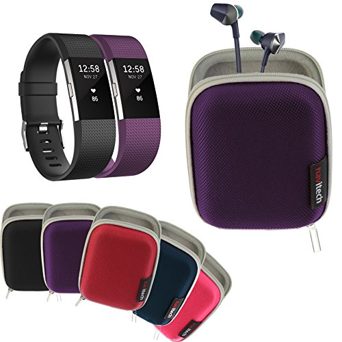 Navitech Purple Hard Carry/Storage Case Compatible with The Fitbit Charge 2 with Pouch Compatible with The Fitbit Flyer Wireless Headphones