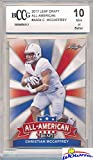 Christian McCaffrey 2017 Leaf Draft All American Insert #AA-04 ROOKIE Card Graded HIGH BECKETT 10 MINT! Awesome HIGH GRDE Rookie Card of Carolina Panthers Top NFL Draft Pick Running Back!