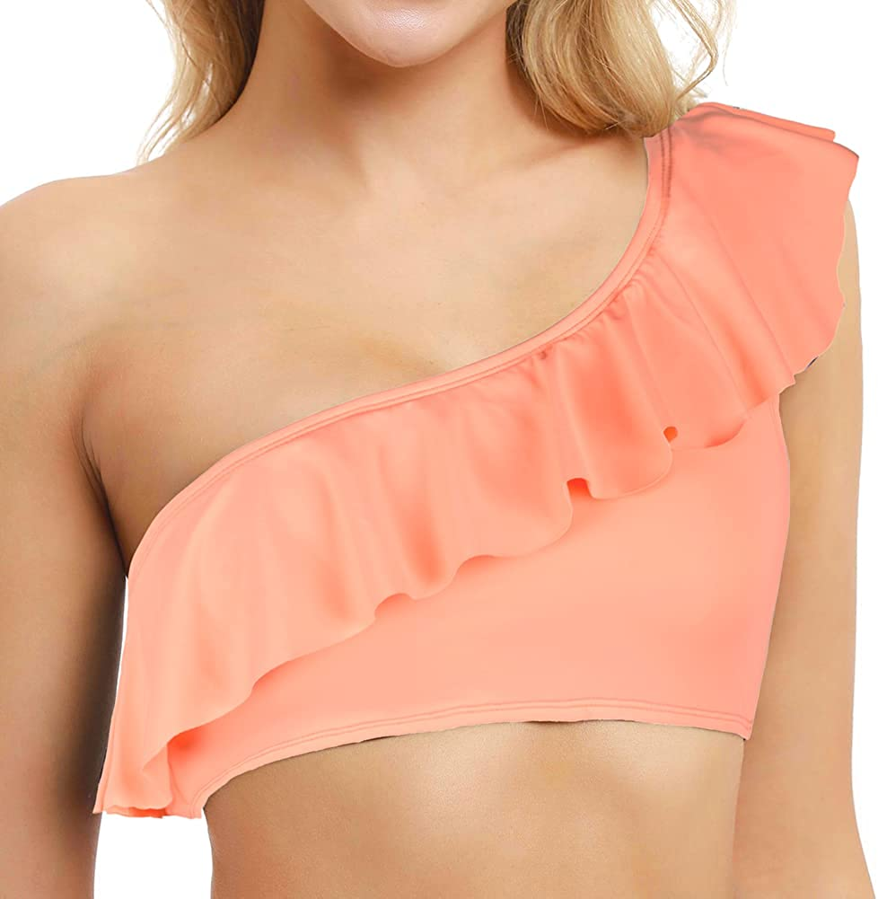 Firpearl Women's Bikini Tops One Shoulder Ruffle Bathing Suit Top