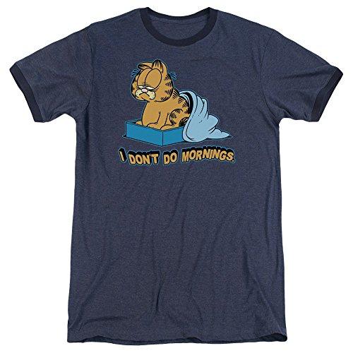 Garfield Männer tue ich nicht morgens Wecker-T-Shirt, Large, Navy