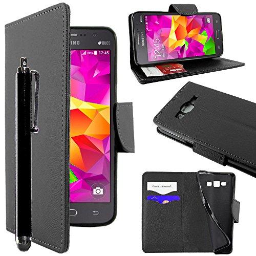 ebestStar - kompatibel mit Samsung Galaxy Grand Prime Hülle SM-G530F/31F Value Edition Wallet Case Handyhülle [PU Leder], Kartenfächern Standfunktion +Stift, Schwarz [Phone: 144.8x72.1x8.6mm 5.0