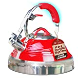 Whistling Tea Kettle Red Hotness with iCool-Handle Technology and 2 Free Infusers for Loose Leaf...