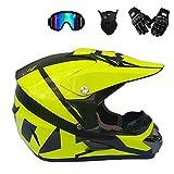 CNSTZX Casco Motocross, Moto Casco Scooter ATV Casco, Adolescentes Hombres Mujeres Niños, D. O. T. Certified Gafas, máscaras, Guantes (4 Piezas), S-XL: 52-59 CM,M