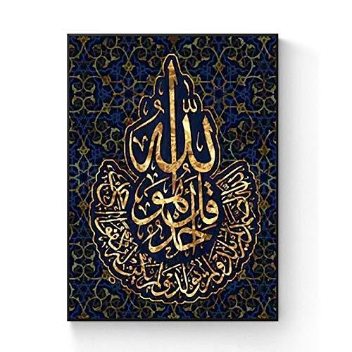 ANnjab Muslimische religiöse Erwachsene und Kinder 5D Diamond Painting Kit DIY Volldiamant Kristall Strass Stickerei Bastelbilder für Home Wanddekoration (Quadrat 40x50cm)
