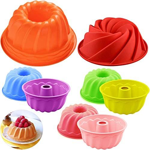 Stampo per Torta Fiyuer 8 Pcs gugelhupf stampi per dolci in silicone mini teglie per muffin e cupcake per dolci da cucina pane cottura budino 3 taglie