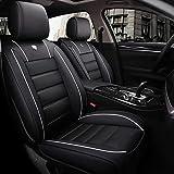 DaFei Coprisedili per Auto, Set Completo A 5 Posti Universali Airbag Compatibili Anteriore E Posteriore Comfort Comfort in Pelle Traspirante (Color : Black And White)