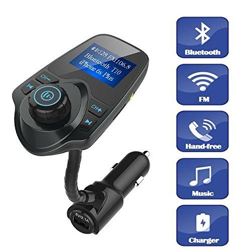 Trasmettitore FM, TKSTAR auto Trasmettitore FM Bluetooth radio adattatore caricabatteria da auto presa accendisigari freisprecheinrichtung Car Kit con USB T10