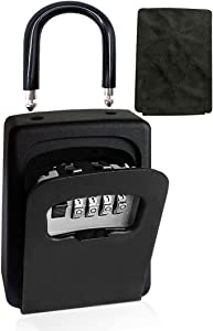 Portable Key Lock Box with Combination Lock Wall Mount, Hanging House Key Safe Storage Box, Waterproof 4 Digits Security Solid Combo Lockbox, for Home, Office, Hotels, Realtors Spare Keys Black