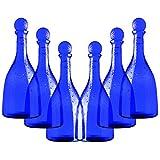 Set 6 pezzi Bottiglia in vetro per acqua solarizzata colore blu mod. Viola 750ml con tappo a sfera