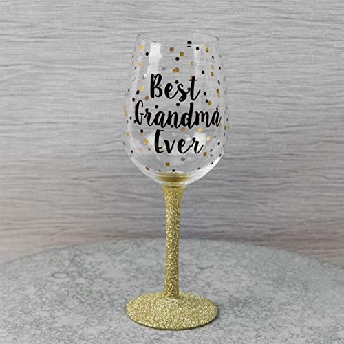 Celebration Gift Boxed Dotty Wijnglas met tekst - Beste oma ooit