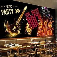 カスタム壁紙3D音楽テーマ装飾絵画英語アルファベットギター壁画レストランカフェKTVバー背景壁紙-280X180CM