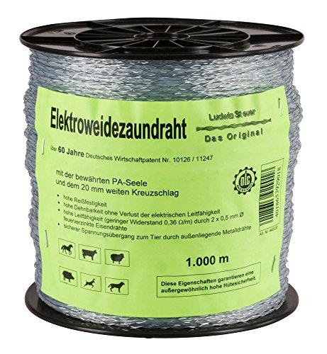 Kerbl Original Steuer Litze EconomyLine, Weidezaunlitze Elektrozaundraht Draht, 1000 m