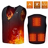 MwaBaiTx Electric Heated Vest, Washable Heated Body Warmer Vest USB Charging (Large) Black