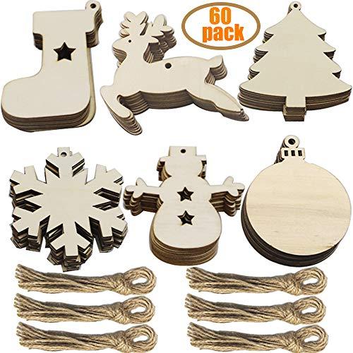 60 Stück weihnachtsdeko holz weihnachtsbaumschmuck basteln holzdeko weihnachten weihnachtsbaum deko, tannenbaum weihnachtsanhänger, christbaumschmuck holz ornamente Schneeflocke Weihnachtsdekoration