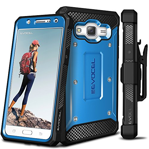 Evocel Galaxy J7 (2015) Case, [Explorer Series] Premium Full Body Case with Rugged Belt Clip Holster for Samsung Galaxy J7 (J700), Blue (EVO-SAMJ7-ZZ02)