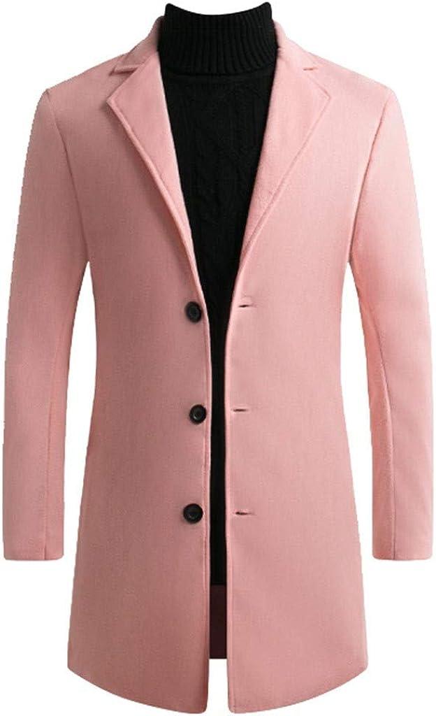 MODOQO Men's Wool Blend Long Trench Coat Slim Fit Overcoat Outwear Jacket