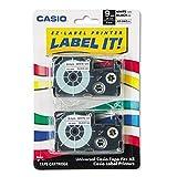Casio - Cinta adhesiva para etiquetadora electrónica (2 x 9 mm), color negro sobre blanco