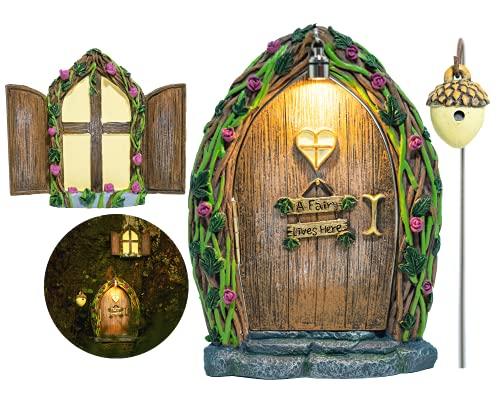 Opening Fairy Door and Window for Trees with Light – Glow in The Dark Yard Art Sculpture...