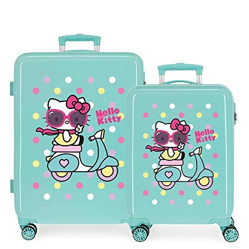 Hello Kitty Girl Gang Juego de Maletas Verde 55/68 cms Rígida ABS Cierre de combinación Lateral 104L 2,66 kgs 4 Ruedas Dobles Equipaje de Mano