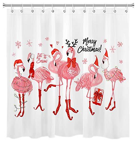 HVEST Merry Christmas Duschvorhang Wasserfarben Schneeflocke Umrandung A Happy Pink Flamingo Familie mit Weihnachtsmannmütze Polyester Stoff 152,4 x 183,9 cm mit 10 Haken für Badezimmer