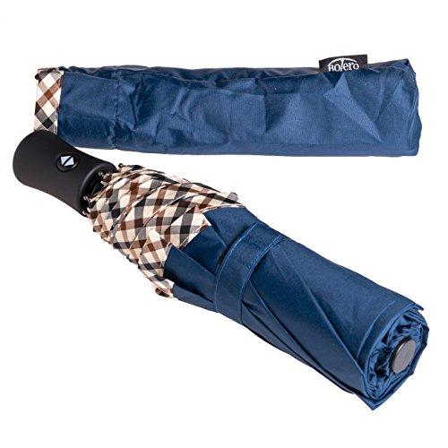 BOLERO Paraguas de lluvia plegable cortavientos y automático de alta calidad – Apertura automática para permitir el uso con una mano – Ligero y portátil – Borde beige a cuadros