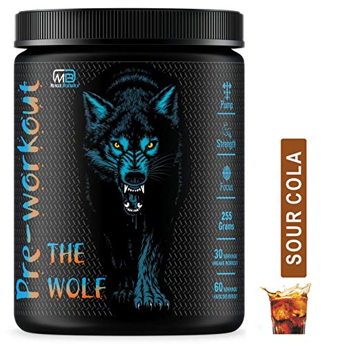 M B Muscle Builder's The Wolf Preworkout Energy Drink Supplement for Men & Women | Hardcore Pre-Workout Supplement for Pump, Strength, Focus [30-60 Servings, Sour Cola, 255g]