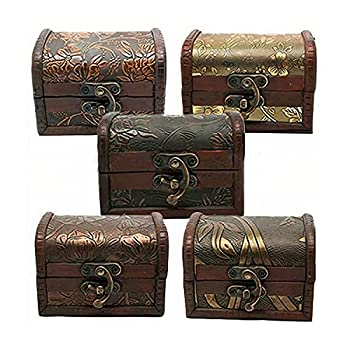 Wooden Jewelry Chest - Antique Storage Box with Metal Lock Small Carved Wood Treasure Organizer Mini Handmade Gift Boxes Decorative Keepsake Case with Hinges & Latches Toy Stash Chests Vintage Decor