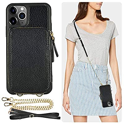 iPhone 11 Pro Max Wallet Case, ZVE iPhone 11 Pro Max Case with Credit Card Holder Slot Crossbody Chain Handbag Purse Protective Zipper Leather Cover for Apple iPhone 11 Pro Max 6.5 inch 2019 - Blue