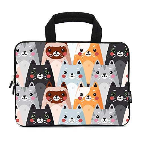 12 Inch Laptop Sleeve Carrying Bag Protective Case Neoprene Sleeve Tote Tablet Cover Notebook Briefcase Bag with Handle for Women Men(Colorful Cats,12')