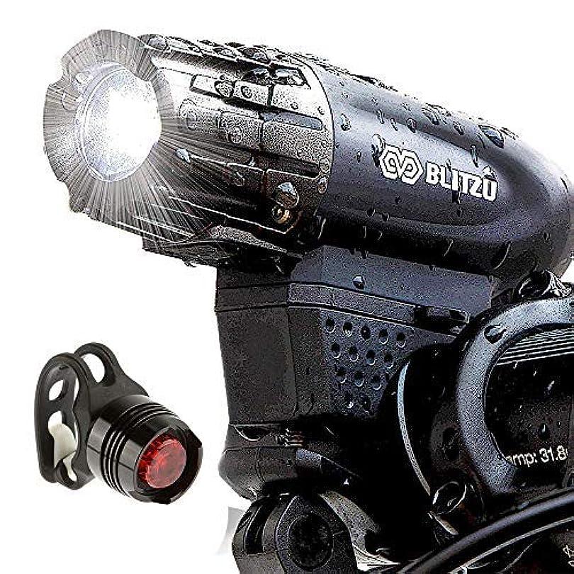 市の中心部印をつける自分自転車ライト BLITZU ヘッドライト サイクルライト 自転車用LEDライト 2500mah USB充電式 4モード 最大七時間使用 SOS機能付き 交通事故防止 設置簡単 脱落しにくい IPX5防水 防災対策 釣り ハイキング等 ブラック GATOR320
