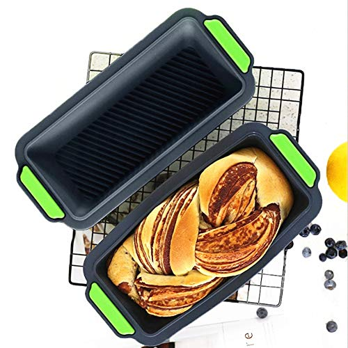 2 Pack Loaf Pan for Baking Bread Toast Non-Stick Silicone Loaf Mold Bakeware Kitchen Utensil Baking Tool Supplies Meatloaf Cake Mold Rectangle Flat Toast Box for Oven Microwave Silicone Pan
