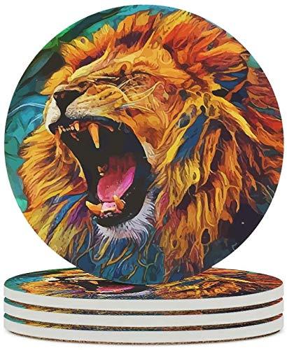 MZD Untersetzer mit Löwen-Gähnen-Motiv, rutschfest, personalisierbar, Tischschutz, geeignet für Weingläser, Flaschen, Tassen für Büro, Bar, Weiß, 4 Stück