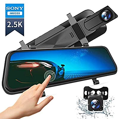 """VanTop H610 10"""" 2.5K Mirror Dash Cam for Cars with Full Touch Screen, Waterproof Backup Camera Rear View Mirror Camera, Enhanced Night Vision with Sony Starvis Sensor, Parking Assistance"""