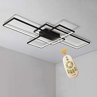 BEHWU Plafón LED Rectangular, Blanco, Negro, 90Cm (70W),110Cm(85W),140Cm(105W), Plafón LED, Aluminio + Gel De Sílice Apto For Dormitorio, Comedor, Cocina, Salón