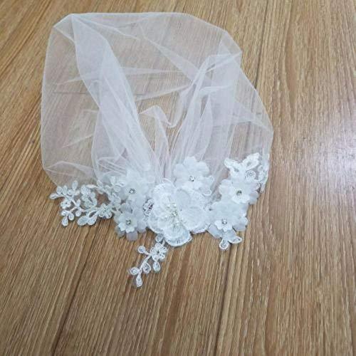 Boner White Bride Rouge Schleier Bankett Ball Spitze Schleier Schleier handgefertigte Perlen...