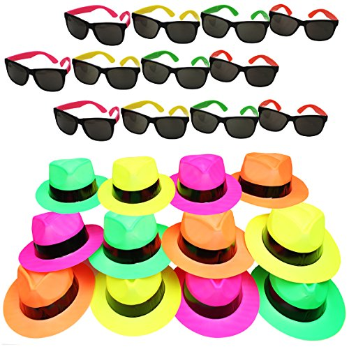 Funny Party Hats Neon Party Supplies - Fedora Party Hats with Party Sunglasses - Gangster Party - 24 Pc Set
