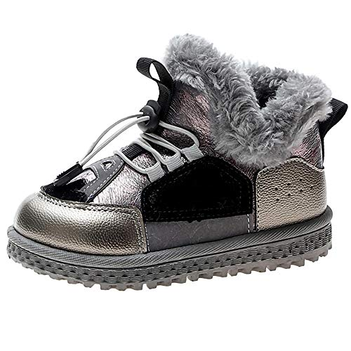 Botas de Nieve Chica Invierno cálido Botas de Nieve Chico Moda Camisa de Peluche Tobillos al Aire Libre Calzado Calzado Suave Suela