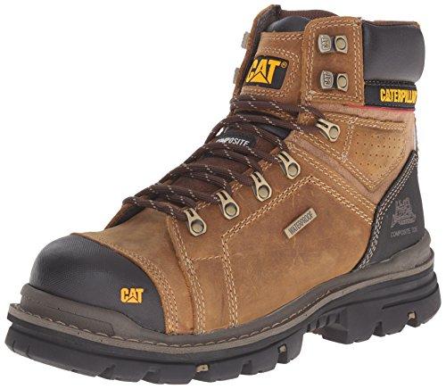 Caterpillar mens Hauler 6 Inch Waterproof Comp Toe Work Boot industrial and construction shoes, Dark Beige, 10.5 US