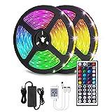 EMUKOEP Tiras LED RGB 5 m/10 m con mando a distancia IR y fuente de alimentación de 12 V, cambio de color SMD 2835/5050, para casa, dormitorio, TV, techo, armario