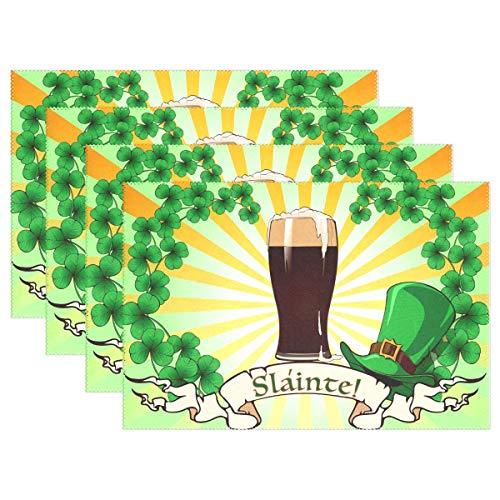 Promini Happy Irish St. Patrick's Day Platzdeckchen Platzdeckchen Grün Leprechauns Hut Kleeblatt Bier Tischsets rutschfest Flecken Hitzebeständig für Esszimmer Zuhause Küche Dekor Indoor 4er Set