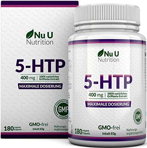 5-HTP 400mg maximal dosiertes Ergänzungsmittel | 180 5 HTP Kapseln - im 6 Monatsvorrat | hochdosiertes 5htp | vegane 5 htp Kapseln