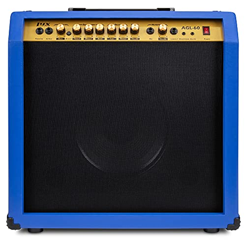 """LyxPro 60 Watt Electric Guitar Amplifier   Combo Solid State Studio & Stage Amp with 10"""" 4-Ohm Speaker, Custom EQ Controls, Drive, Delay, ¼"""" Passive/Active/Mic Inputs, Aux in & Headphone Jack - Blue"""
